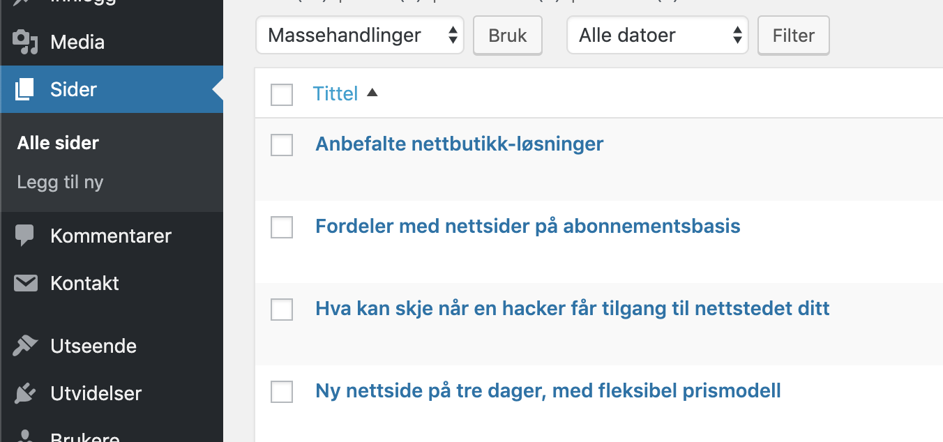 Liste over sider i WordPress